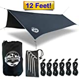 Hammock Tarp By The Outdoors Way. 12' Quality Rain Fly For Extreme Waterproof Protection, Large Canopy Is Portable And Provides Ideal Shelter For Your Camping Hammock Or Tent. Performance Delivered!