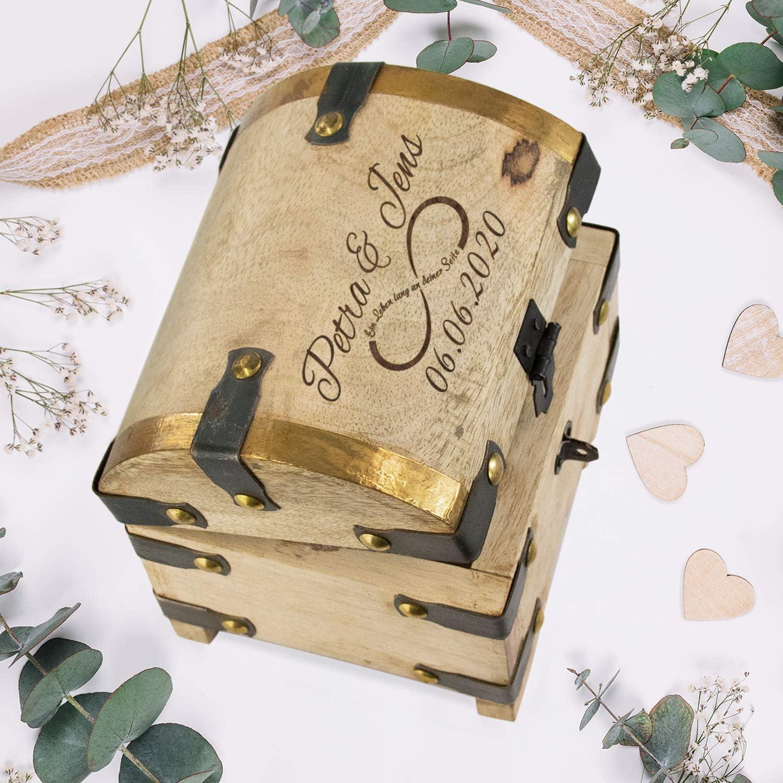 Herzen Schatztruhe aus Mangoholz zur Hochzeit Geschenkidee zur Hochzeit mit Gravur mit Namen und Datum personalisiert: Geldgeschenke f/ürs Brautpaar