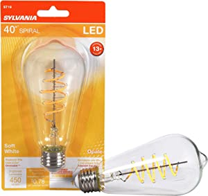 LEDVANCE Sylvania LED Spiral Filament ST19 Light Bulb, 40W Equivalent Efficient 6.5W, Medium Base, Dimmable Clear 2700K Soft White, 1 Pack (40577)