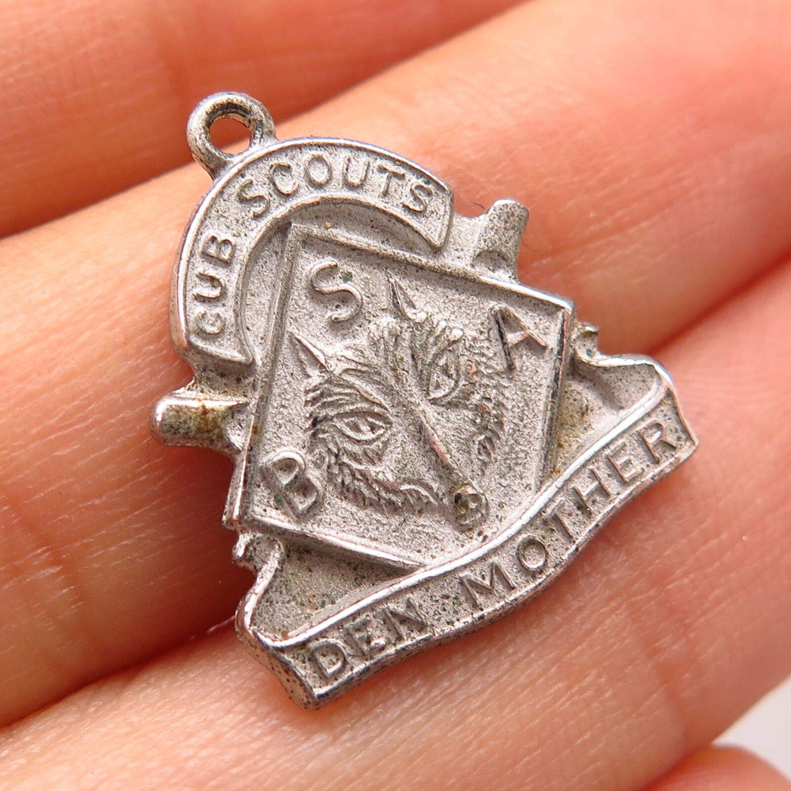 925 Sterling Silver Vintage BSA Cub Scouts Den Mother Wolf Charm Pendant Pre-Owned Sterling Charm by Wholesale Charms by Wholesale Charms