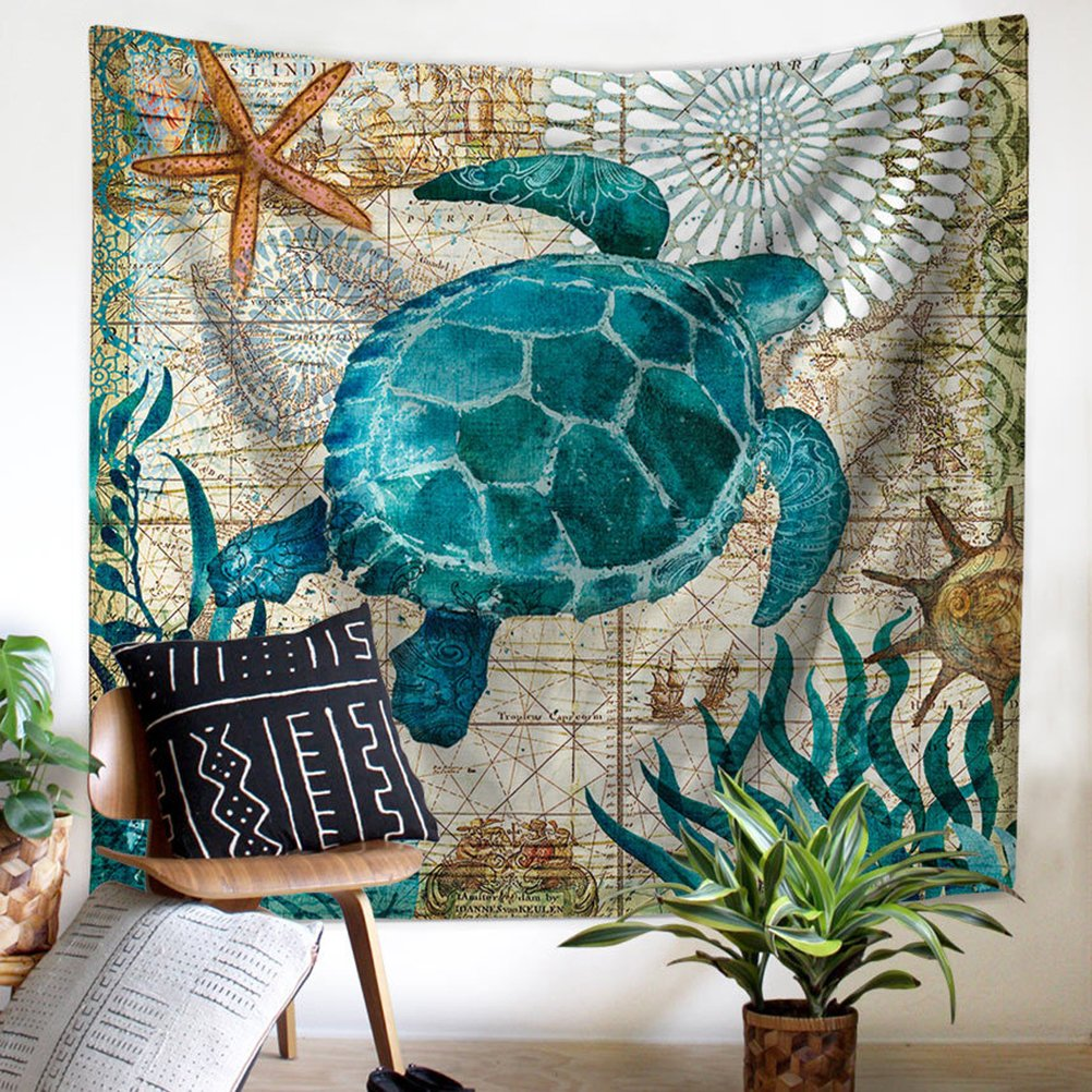 Wencal Ocean Animals Home Wall Decor Sea Turtle Wall Hanging Tapestry, 100% Polyester by Wencal