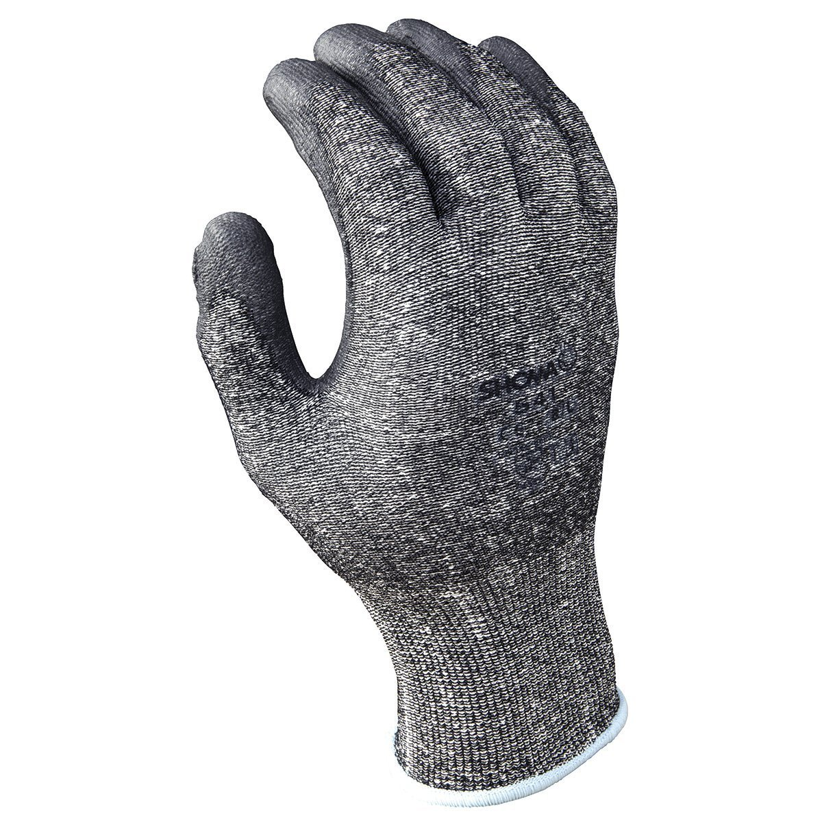 SHOWA Best® Glove Size 7 SHOWA® 541 13 Gauge Cut Resistant Gray Polyurethane Dipped Palm Coated Work Gloves With Light Gray Seamless Dyneema® And High Performance Polyethylene Knit Liner And Elastic Wrist
