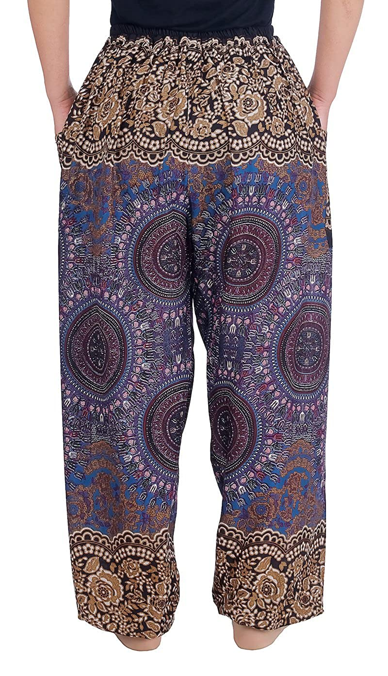 Lannaclothesdesign Womens Drawstring Harem Pants Sweat Trousers Hippie Style