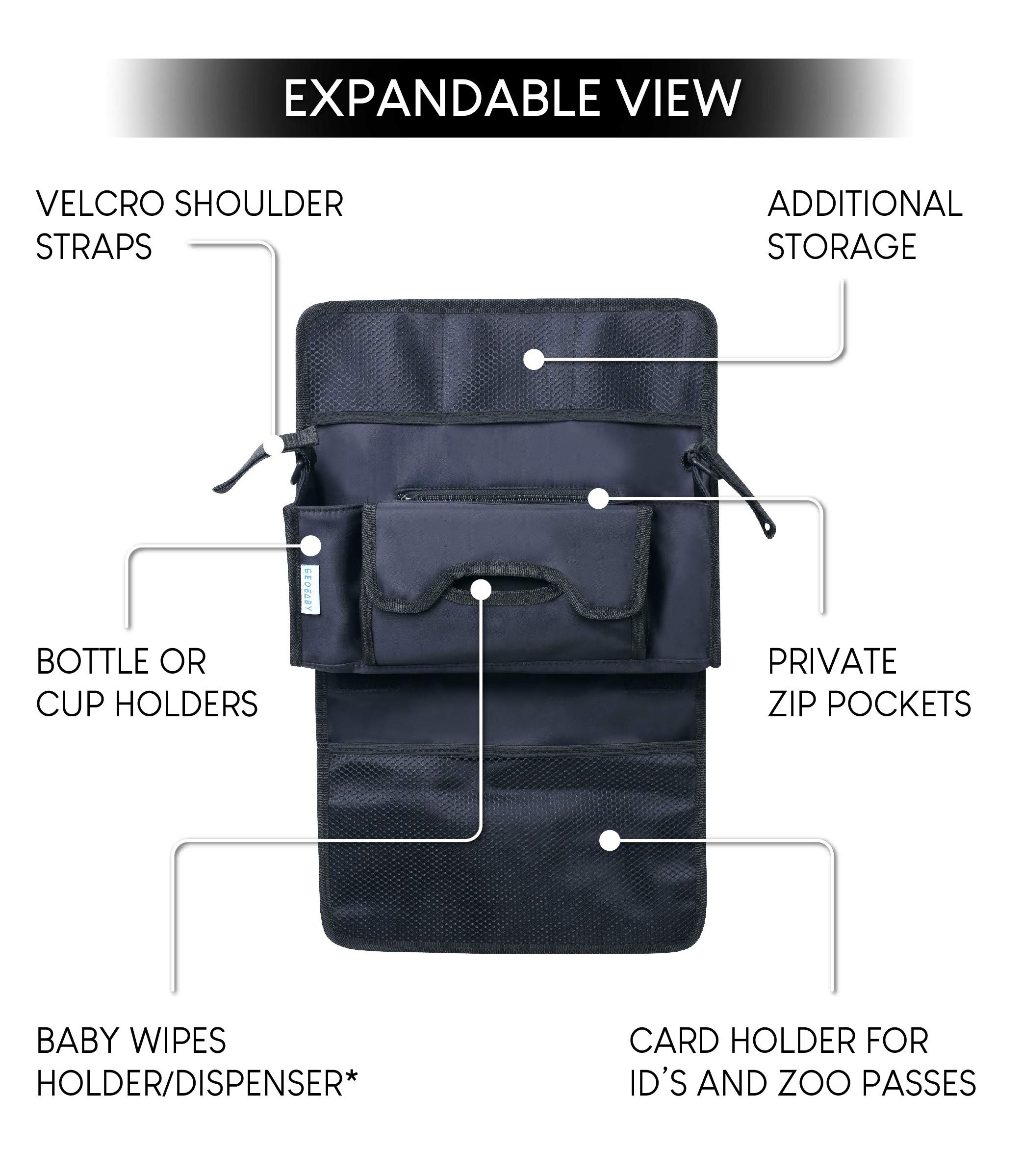 GeoBaby Modern and Universal Extra Storage Stroller Organizer With Cup Holders, Diaper Compartments, Wipes Dispenser, Phone Pockets, Baby Shower Idea by GeoBaby (Image #5)