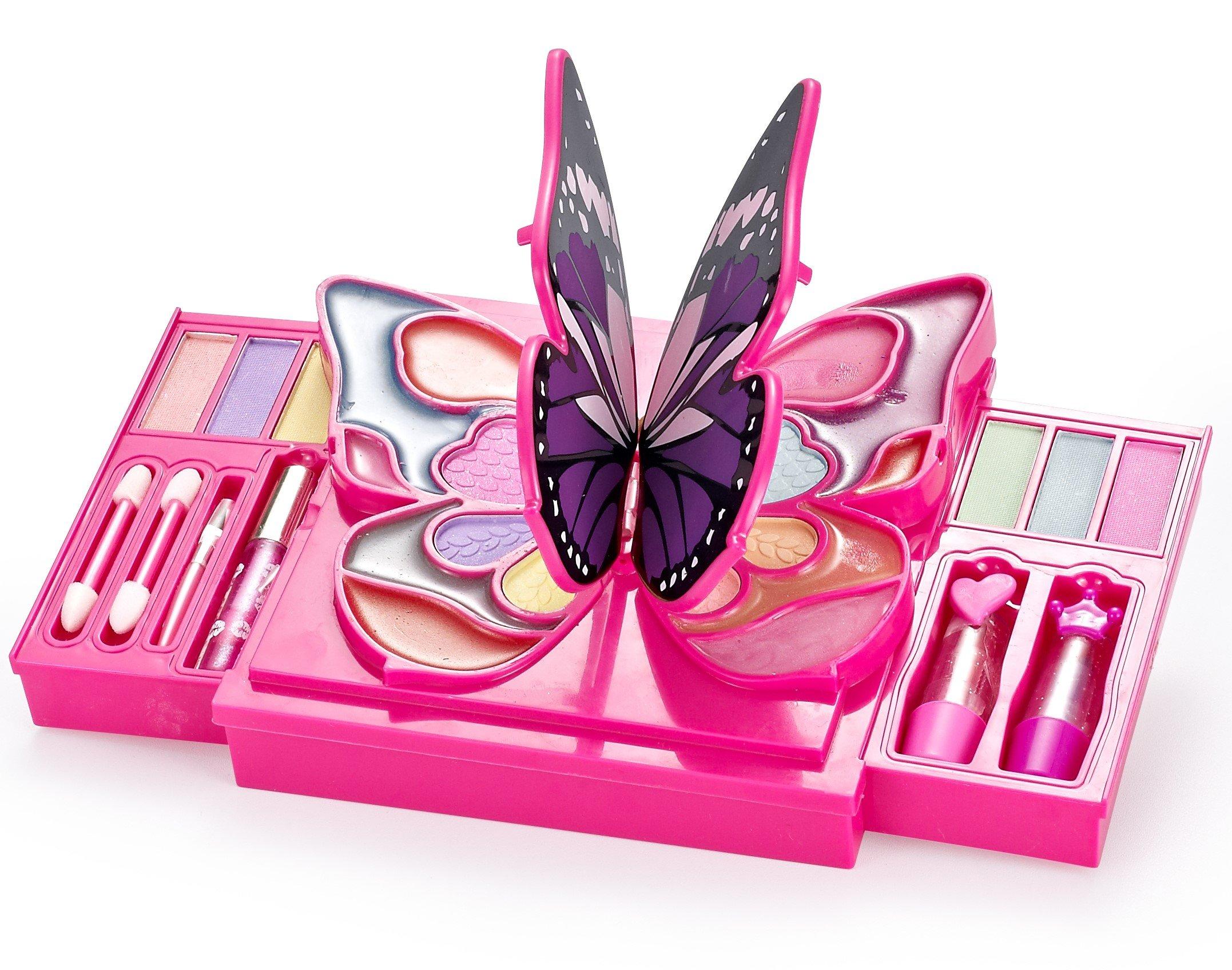 JaxoJoy Girly Girl Butterfly Makeup Kit - Girls Makeup Palette - 30 Piece Set