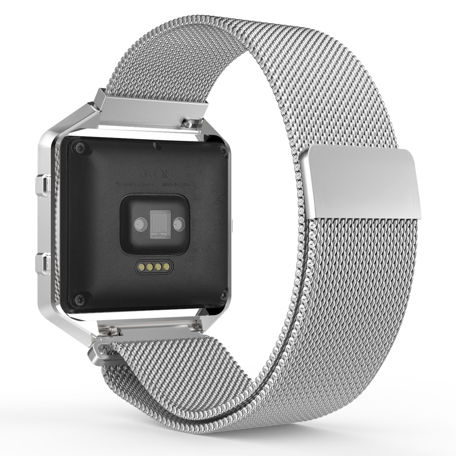 MoKo Fitbit Blaze Band, Milanese Loop Mesh Stainless Steel Bracelet Watch Strap for Fitbit Blaze Smart Fitness Watch with Unique Magnet Lock, No Buckle Needed, Frame NOT Included - SILVER