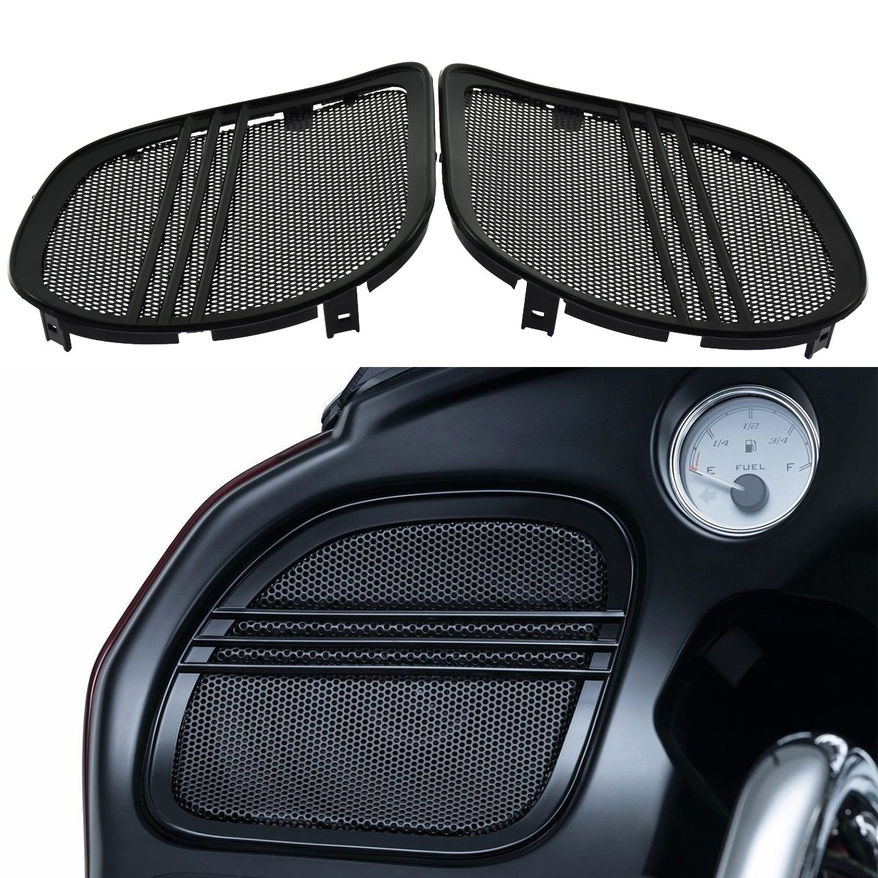 Rebacker Motorbike Tri-Line Speaker Grills Cover Trim Mesh For Harley Road Glide FLTRX 2015 2016 2017 2018,Black