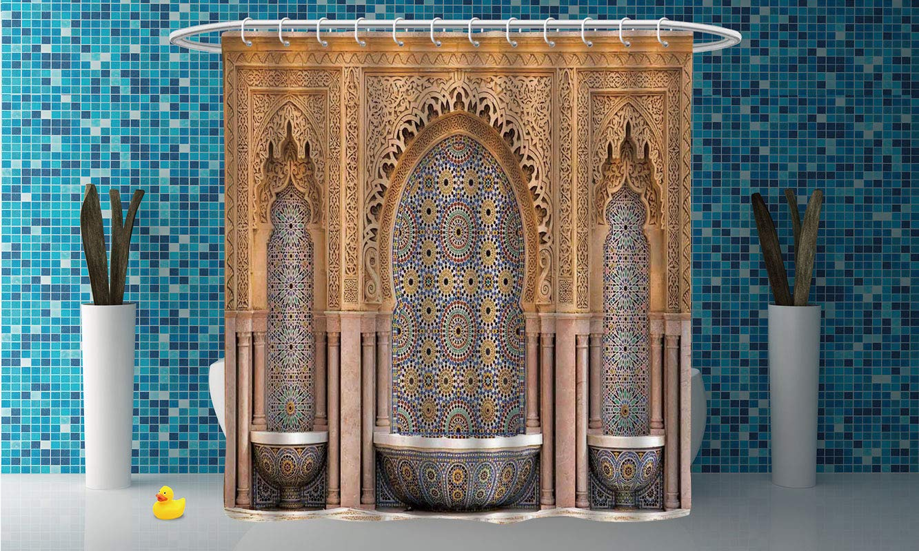 Waterproof Shower Curtain [ Moroccan Decor,Typical Moroccan Tiled Fountain in The City of Rabat Near The Hassan Tower ] Shower Curtain with Hooks