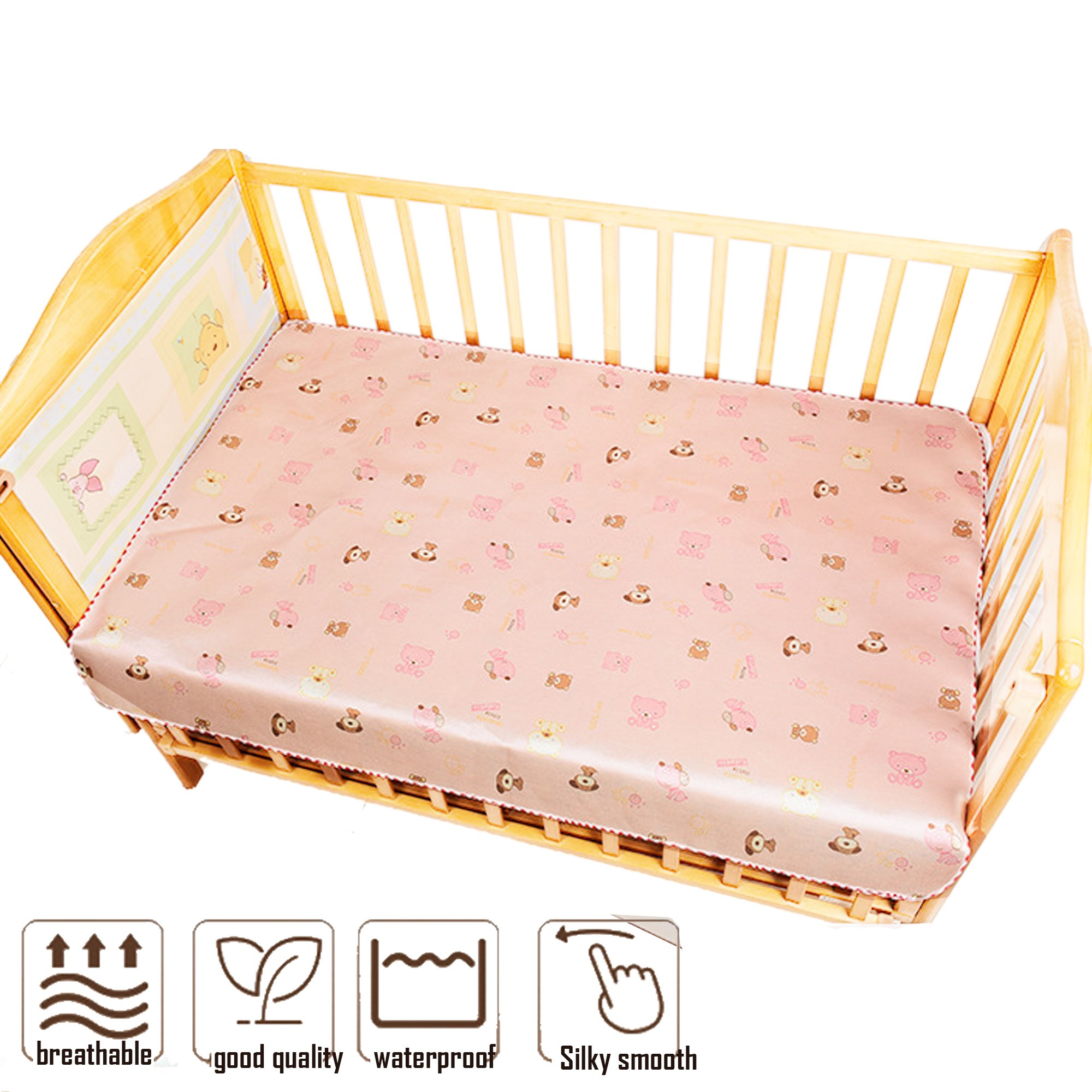 Toddler Mattress Protector Rattan Cooling Summer Sleeping Pads Diaper Changing Waterproof (Baby Pink, 60120cm)