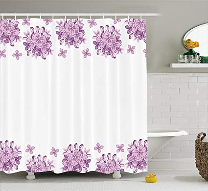 Purple Shower Curtain Rod Stripes Flowers Graphic Lilac Flower