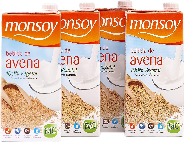 Monsoy - Bebida Vegetal Ecológica de Avena - Caja de 4 x 1L: Amazon.es: Alimentación y bebidas