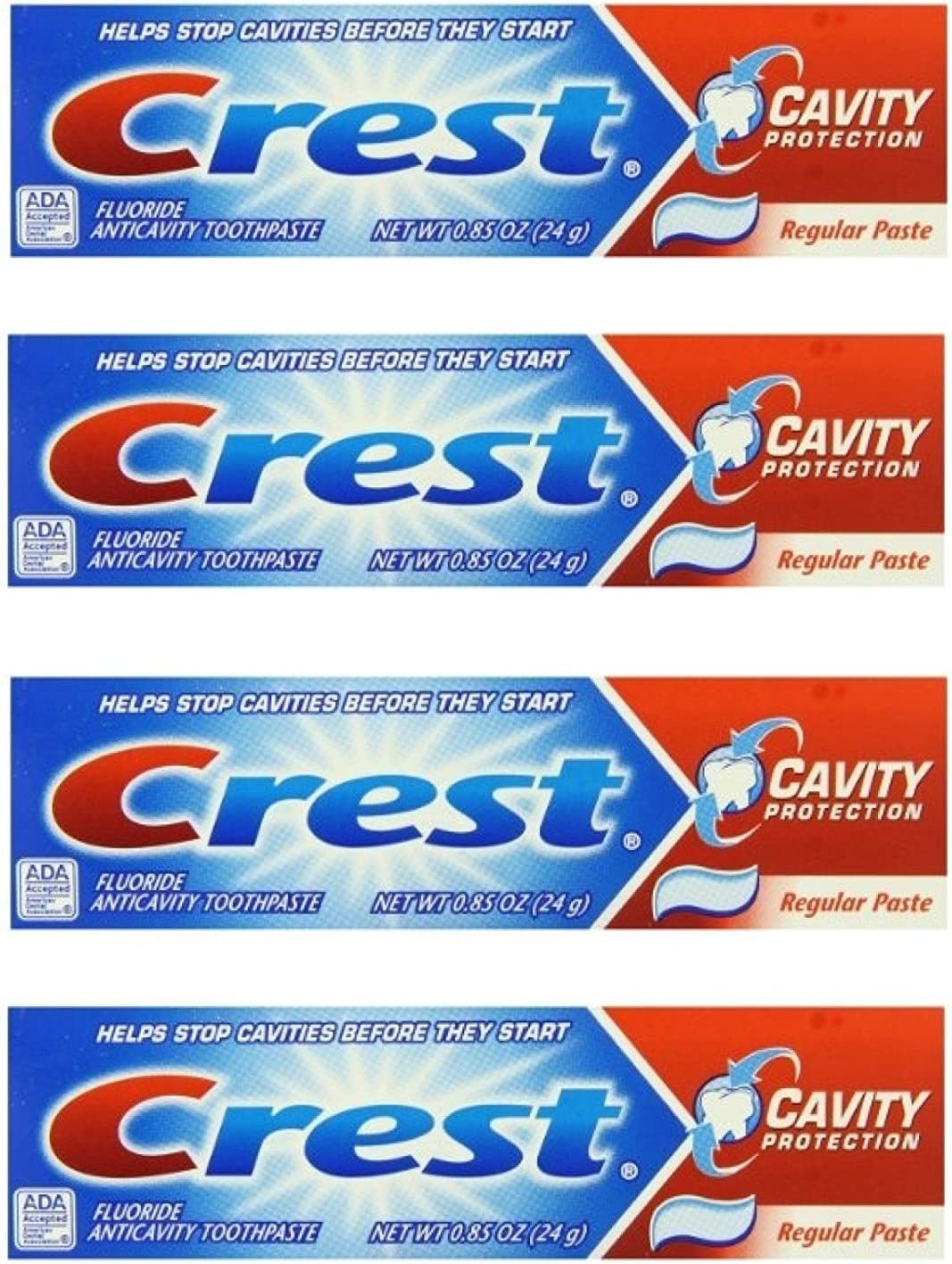 Crest Cavity Protection Fluoride Anticavity Toothpaste Regular Paste 0.85 oz Travel Size (Pack of 4)