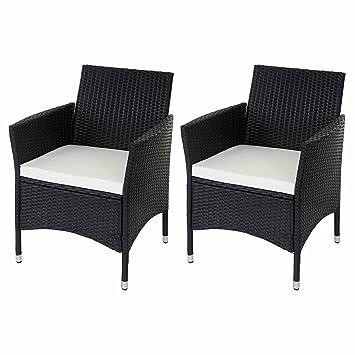 2x chaise en osier poly rotin Modica, chaise jardin, fauteuil avec ...