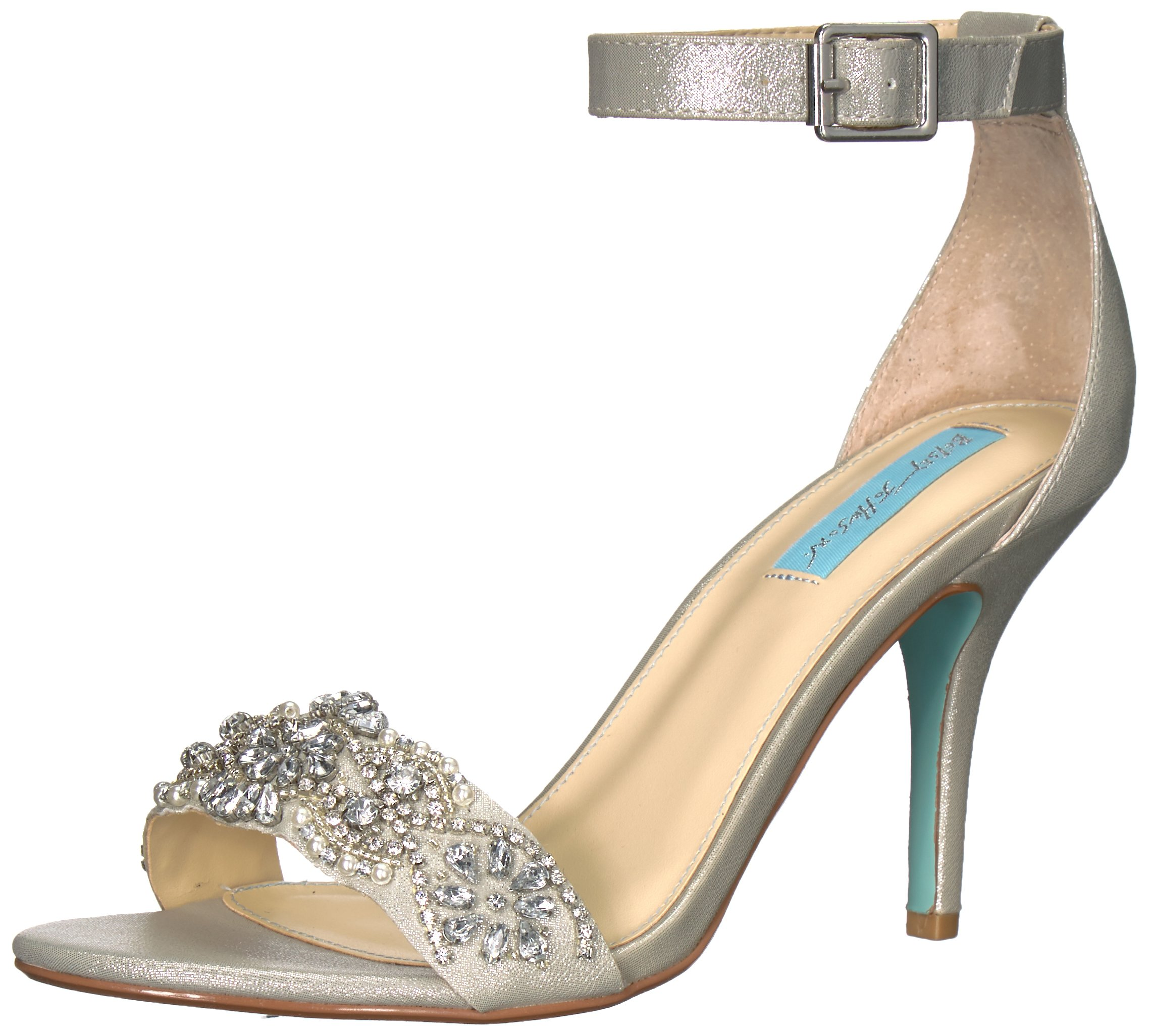 Blue by Betsey Johnson Women's SB-Gina Heeled Sandal, Silver, 8 W US