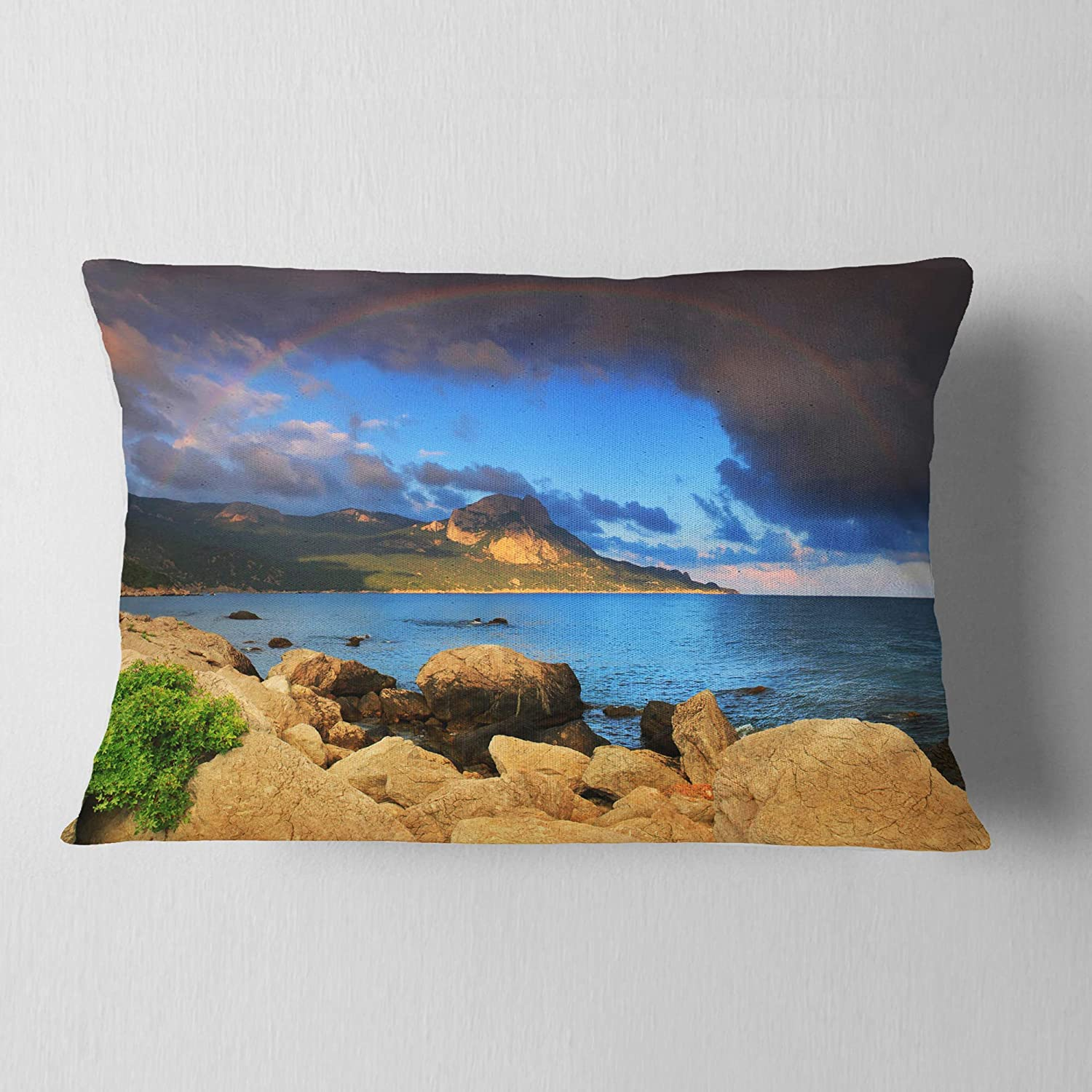 Designart CU11532-12-20 Rainbow Over The Ocean Bay Modern Seascape Lumbar Cushion Cover for Living Room Sofa Throw Pillow 12 in in x 20 in