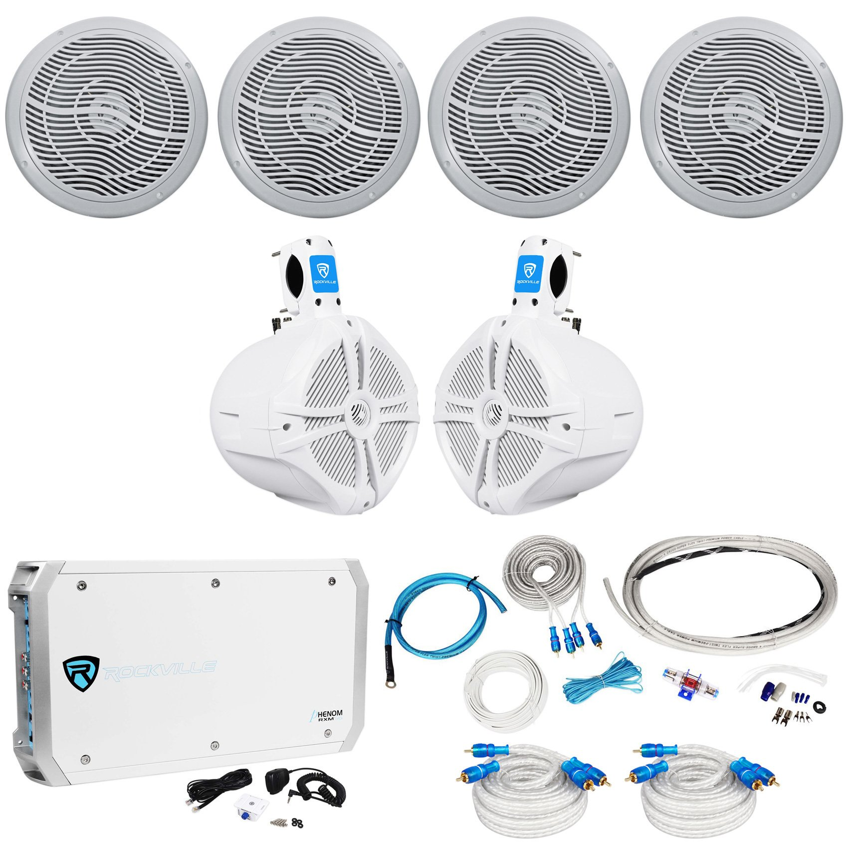 4 Rockville RMC80W 8'' 1600w Marine Boat Speakers+8'' Wakeboards+6-Ch Amp+Wire Kit
