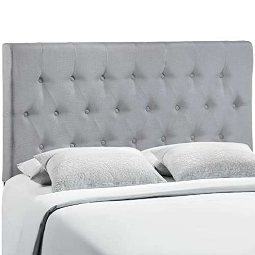 Modway Clique Tufted Button Diamond Pattern Linen Fabric Upholstered King Headboard in Gray
