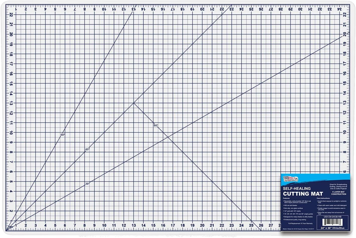 """U.S. Art Supply 24"""" x 36"""" WHITE/BLUE Professional Self Healing 5-6 Layer Double Sided Durable Non-Slip PVC Cutting Mat Great for Scrapbooking, Quilting, Sewing and all Arts & Crafts Projects"""