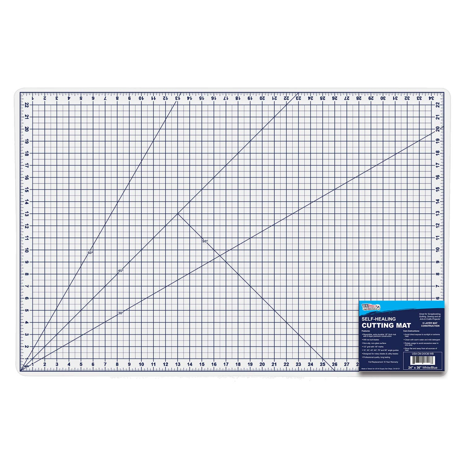 U.S. Art Supply 24'' x 36'' WHITE/BLUE High Contrast Professional Self Healing 6-Layer Double Sided Durable Non-Slip PVC Cutting Mat Great for Scrapbooking, Quilting, Sewing and all Arts & Crafts Projects