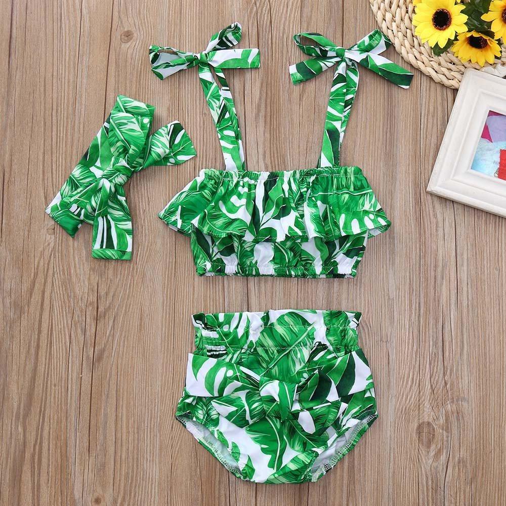 Baby Infant Girls Sleeveless Leaf Print Sun-Top Shorts+Headbands Outfits Set
