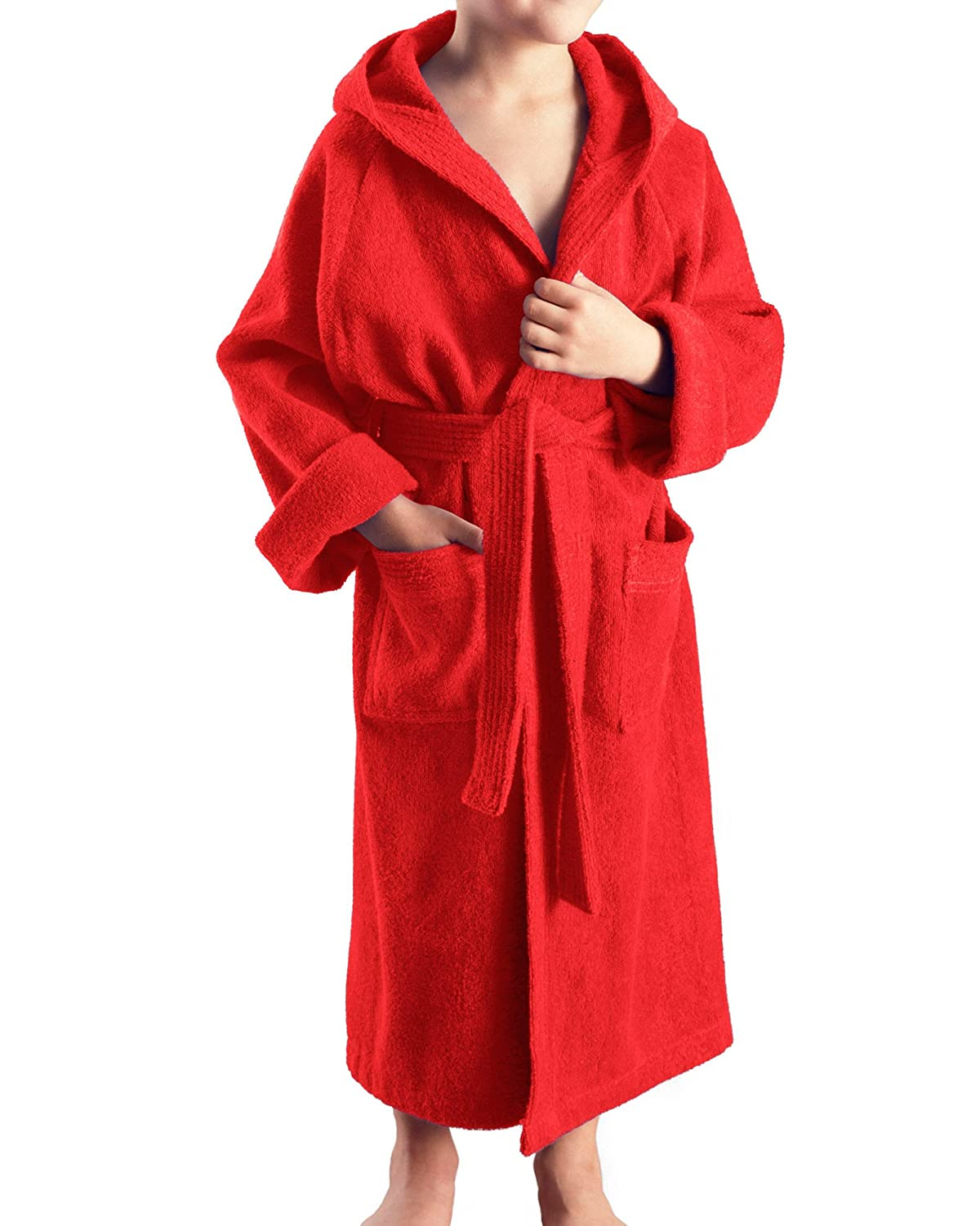 Arus Child's Hooded Bathrobe to Fit Boys and Girls, 100% Terry Cotton, 10 oz/yd2 (350 g/m)