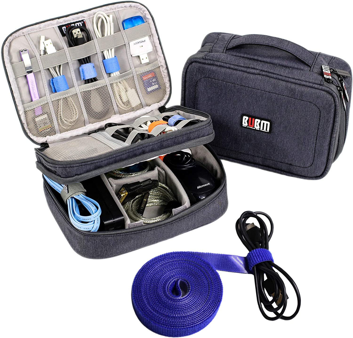 Electronics Organizer Travel Cable Cord Wire Bag Accessories Gadget Gear Storage Cases (Dark Gray)