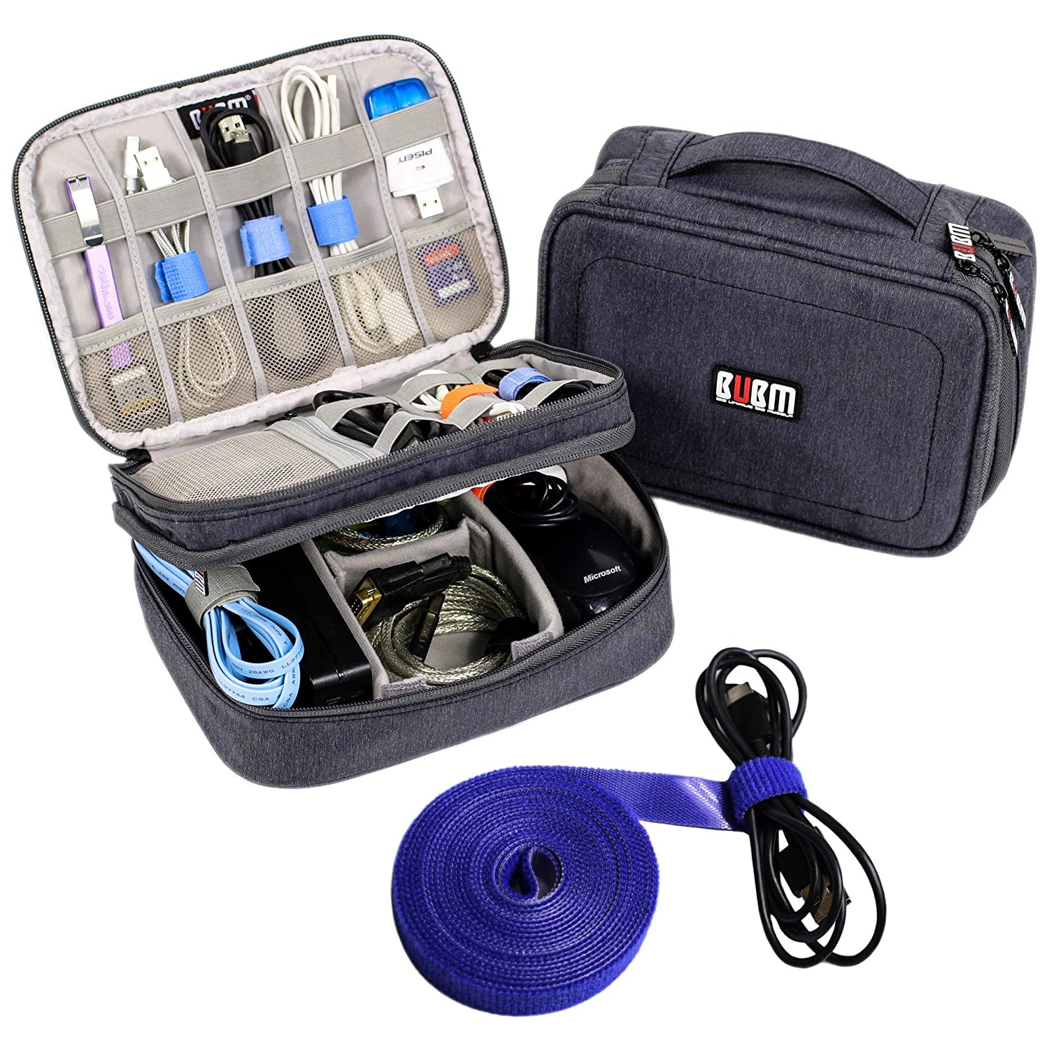 Electronics Organizer Travel Cable Cord Bag Accessories Gadget Gear Storage Cases  Dark Gray