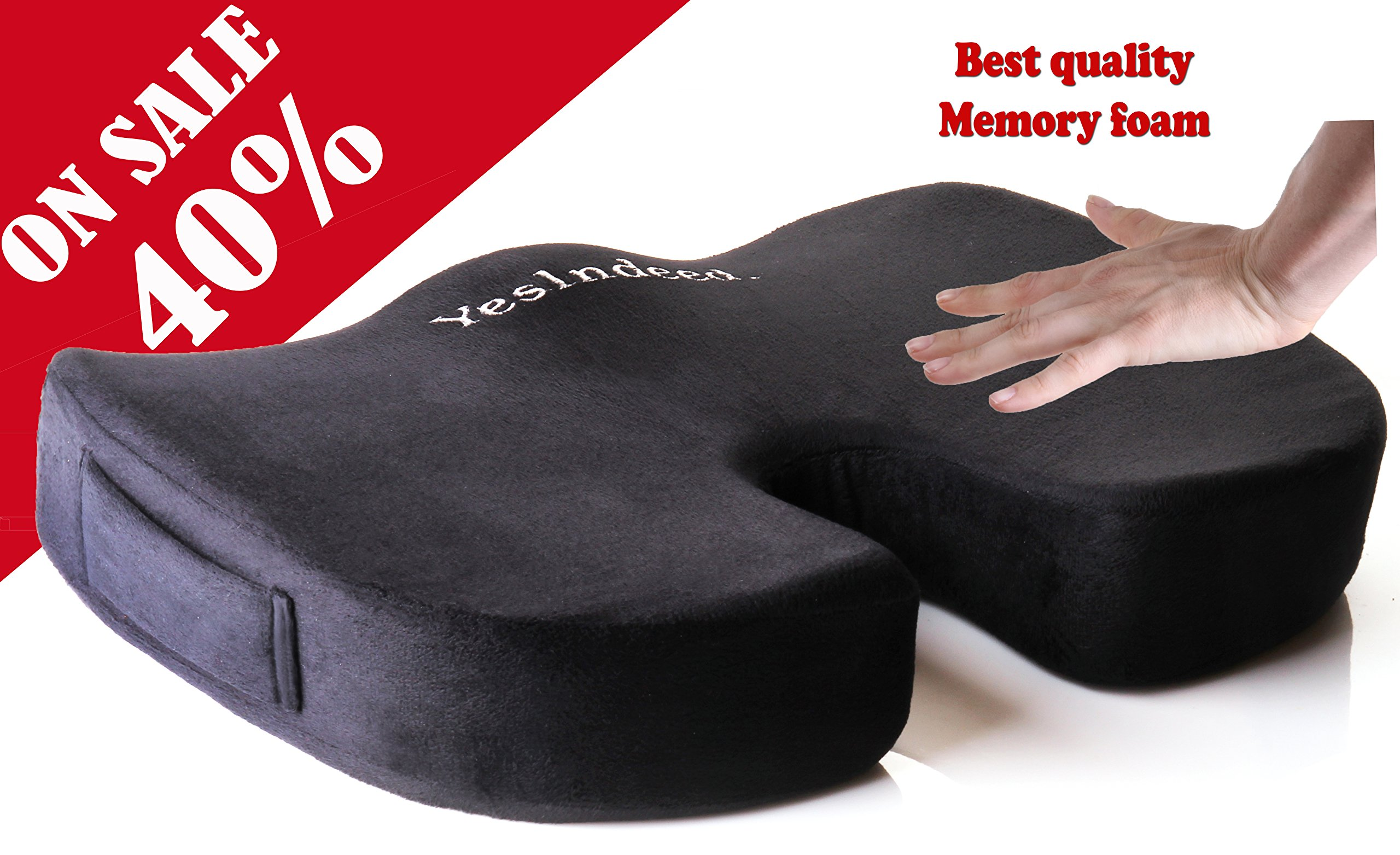 Memory Foam Orthopedic Coccyx Pillow – Premium Comfort Seat Cushion for Prolonged Sitting in Office Chair, Car – Support and Relief for Tailbone, Spine, Lumbar, Pregnancy, Hemorrhoids, Back Pain, More