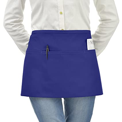 VEEYOO Waist Apron with 3 Pockets, 1 Pack, Waiter Server Short Half Aprons  for Women Men, Waitress Aprons Cotton Short Apron for Kitchen, Restaurant,