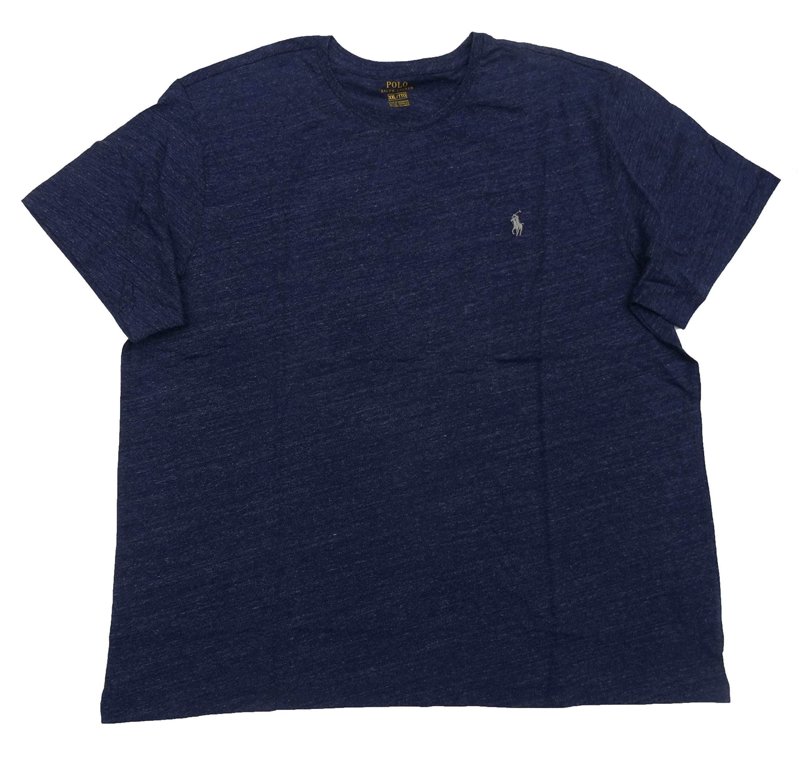 Polo Ralph Lauren Men's Big & Tall Pony Logo Crew Neck Jersey T-Shirt (2X Big, Blue Heather - Silver Pony)