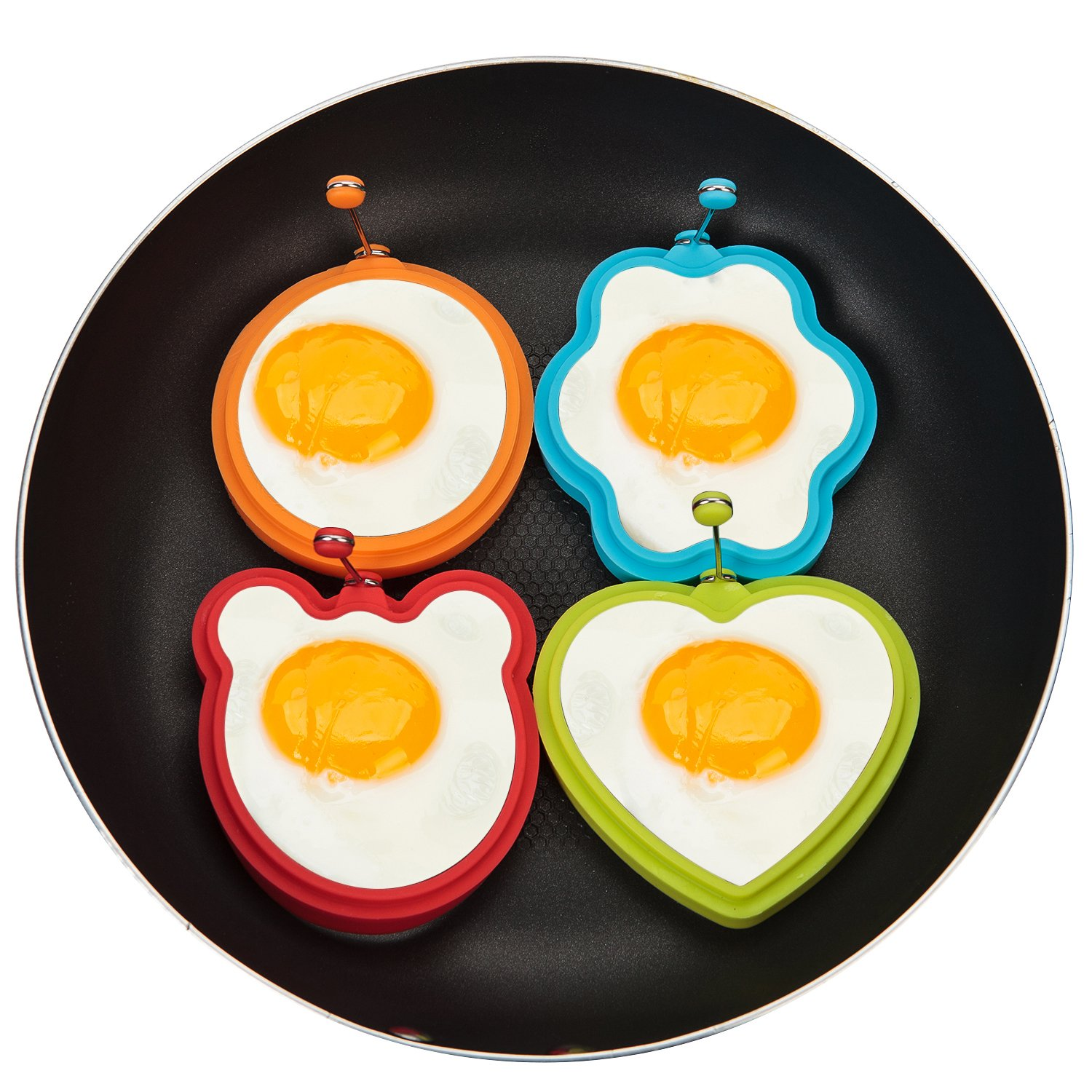 Silicone Fried Egg Mold 4-Pack...