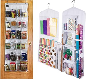 Regal Bazaar Large Double-Sided White Gift Wrap and Gift Bag Organizer & Over-the-Door Hanging White 24-Pocket Pantry Organizer and Kitchen Storage Unit Bundle - Two Great Home Organizing Products