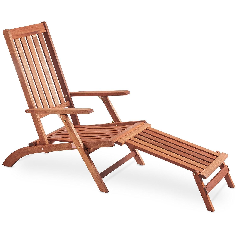 vonhaus wooden steamer chair sun lounger made from meranti