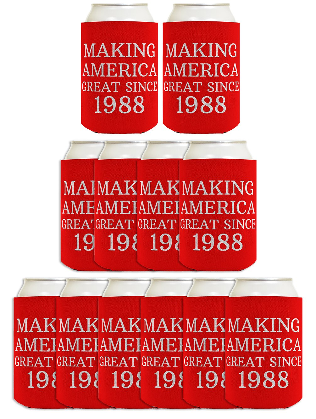 30th Birthday Gift Ideas Making America Great Since 1988 30th Birthday Decorations 30th Birthday Gifts for Men 12 Pack Can Coolie Drink Coolers Coolies Red