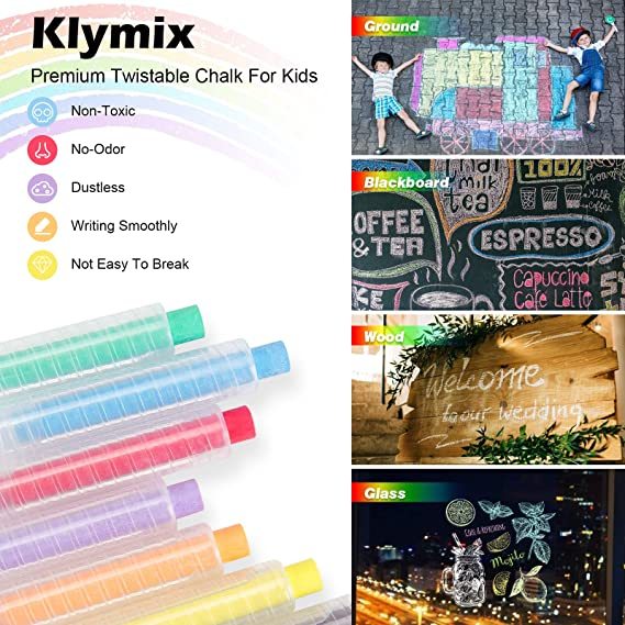 Klymix Non-Toxic Chalk 6 Colors with Twistable Dustless Colored Chalks 1 mm Tip Art Drawing for Blackboard Wood Glass Ground Wall Perfect for Kids Any Project