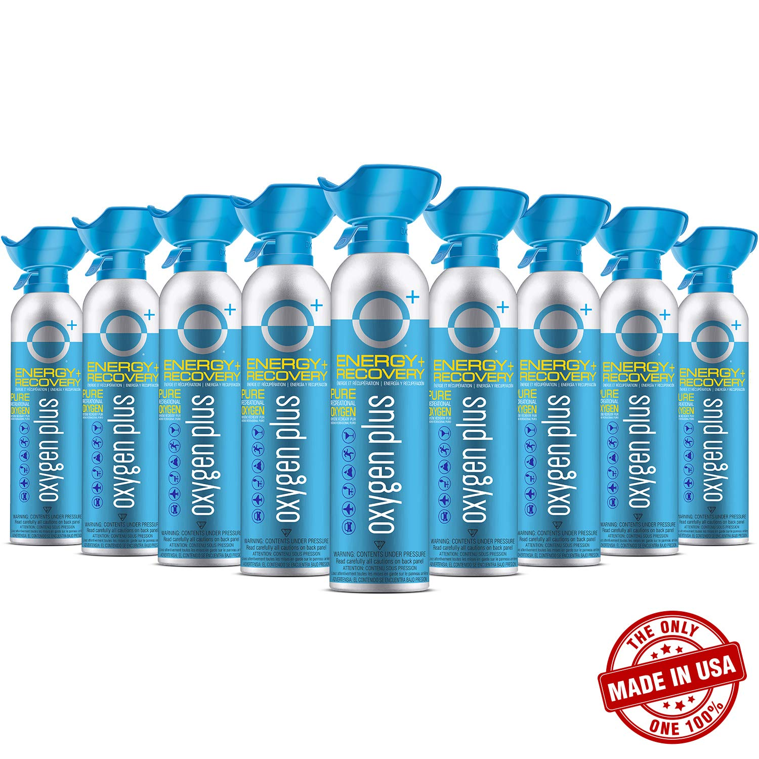 Oxygen Plus Oxygen Cans O+ Biggi, Boost Oxygen Levels with Portable & Concentrated Recreational Oxygen for Altitude Performance & Energy, Made in The USA, 7 Litre Canisters (9-Pack)
