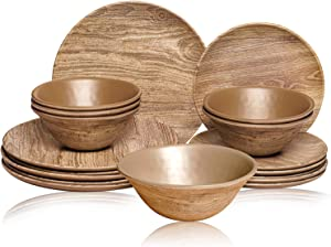 TP Melamine Dinnerware Set, 18-Piece Rustic Dishes Set, Dinner Service for 6 with Bowls and Salad Dinner Plates, Wood Grain