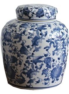 65 inch rnuminch ceramic ginger jar with lid bluewhite - Ginger Jars