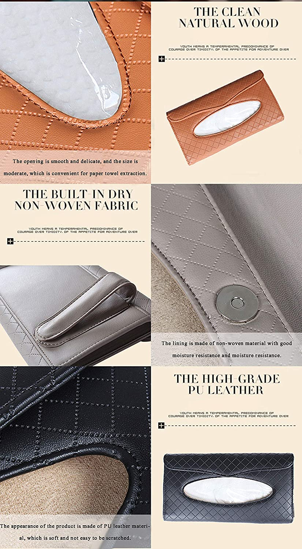 Beige FancyAuto Car Sun Visor Tissue Box PU Leather Auto Accessories Tissue Clip Napkin Holder 4 Colors for Choose