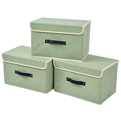 e06184eb14de YueYue 3-Pack Large Linen Storage Box with Lid and Handle Foldable Closet  Organizer Clothes Bag Toys Cube Container (Green)(15.6in10.2in9.6in)