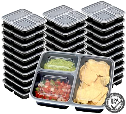 three-compartment food prep container - 10 per set