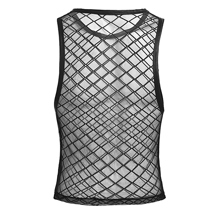 5b3bf0a1d9f77e iEFiEL Camiseta de Tirantes Transparente Malla para Hombre Verano Fresco   Amazon.es  Ropa y accesorios