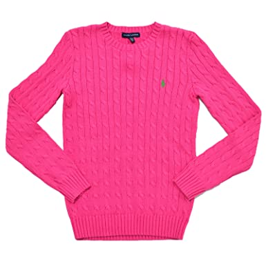 Ralph Lauren Women's Cable Knit Crew Neck Sweater (L, Grand Prix ...