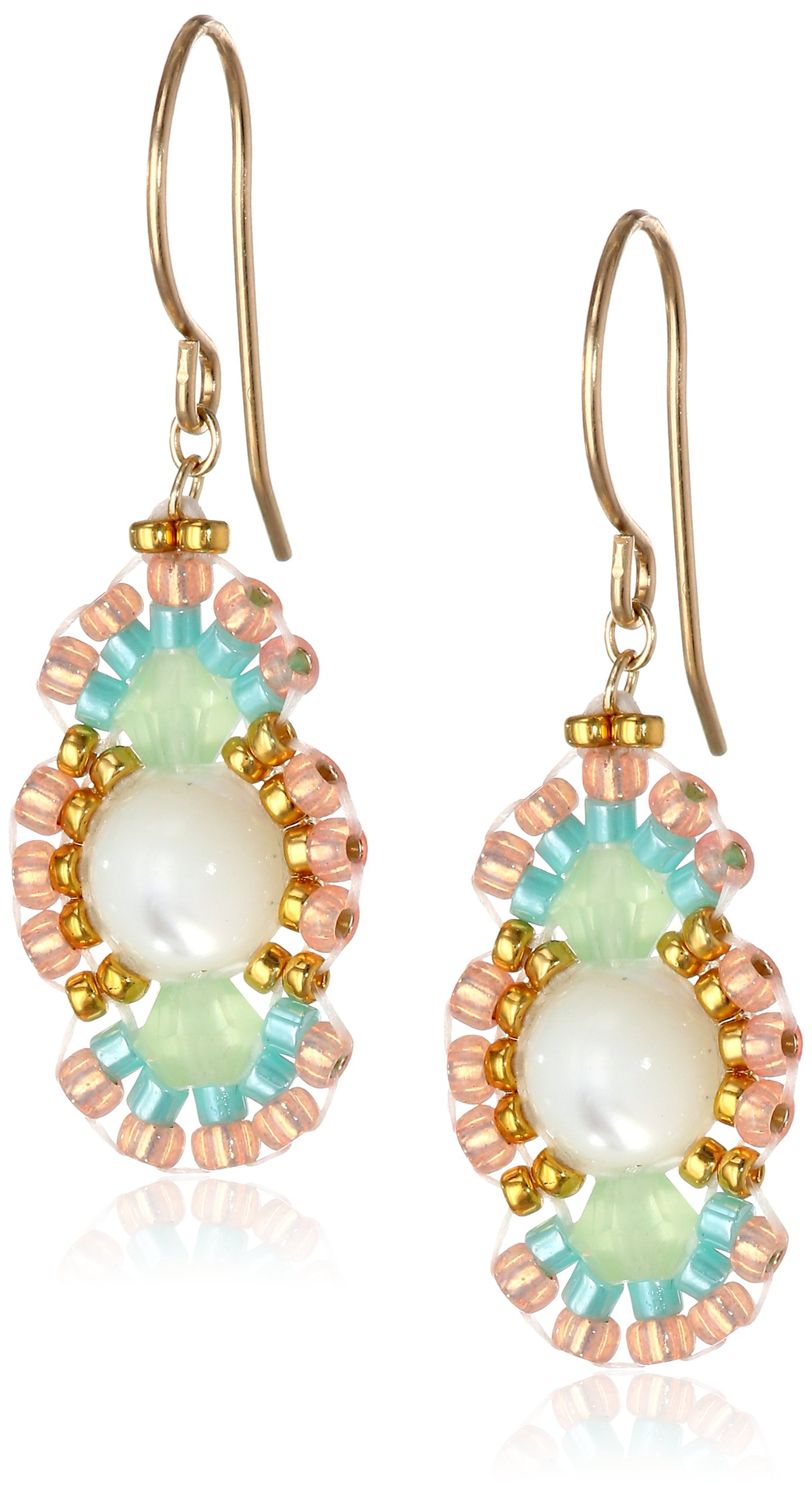 Miguel Ases Prehnite and Mother of Pearl Oval Drop Earrings, 1.35''