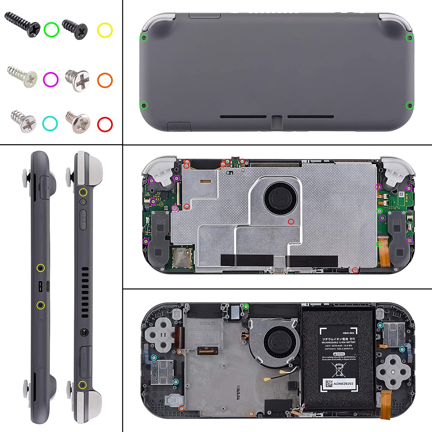 eXtremeRate Soft Touch Black DIY Replacement Shell for Nintendo Switch Lite, NSL Handheld Controller Housing w/Screen Protector, Custom Case Cover for Nintendo Switch Lite: Computers & Accessories