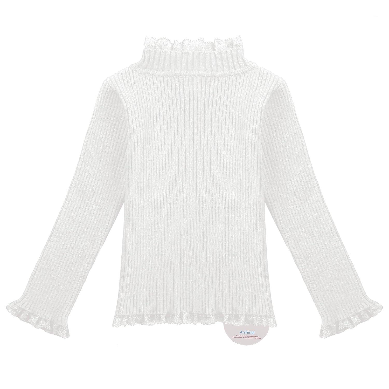Zaclotre Girls Christmas Ruffle Hems Knitted Turtleneck Pullover Toddler Sweater Jumper
