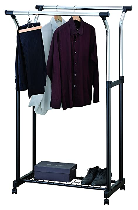 Finnhomy Double Rails Adjustable Rolling Garment Rack With Storage Wire Net  At Bottom Free Standing Portable