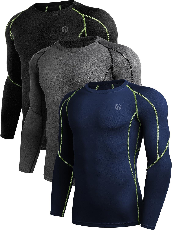 Neleus メンズアスリート コンプレッションアンダーベースレイヤー スポーツタンクトップ 3点セット B0753G1PSD L|5030# 3 Pack:black (Green Stripe),grey,navy Blue 5030# 3 Pack:black (Green Stripe),grey,navy Blue L