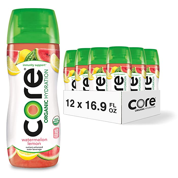 CORE Organic Hydration, Watermelon Lemon, 16.9 Fl Oz (Pack of 12), Nutrient Enhanced Flavored Water with Immunity Support from Zinc, USDA Certified Organic