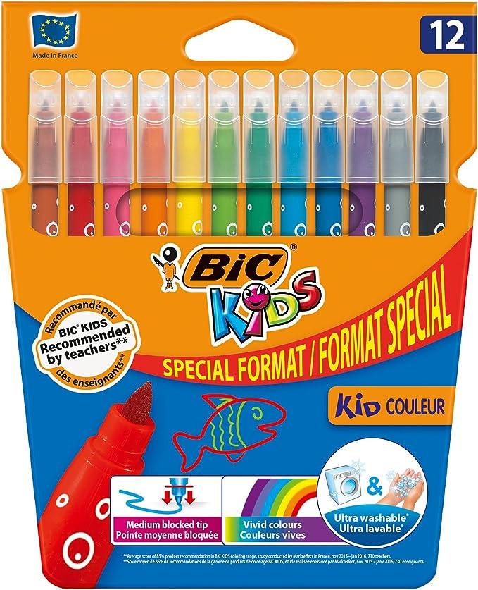 BIC 9246621 Kids Visa Pack de 12 rotuladores de colores: Amazon.es ...